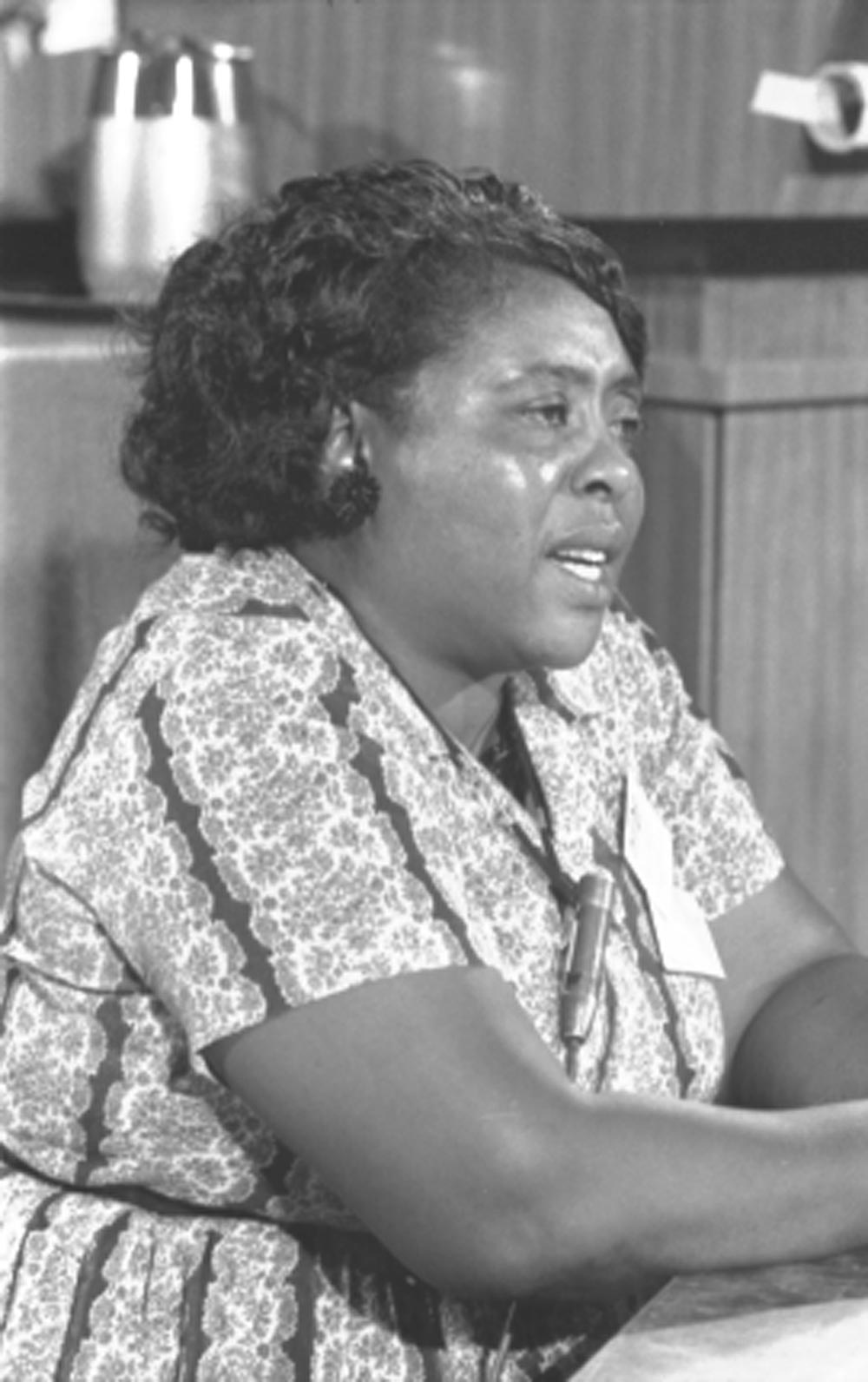 Fannie Lou Hamer, Mississippi Freedom Democratic Party delegate, at the Democratic National Convention in Atlantic City, New Jersey, August 22, 1964; photograph by Warren K. Leffler. (Library of Congress Prints and Photographs Division)