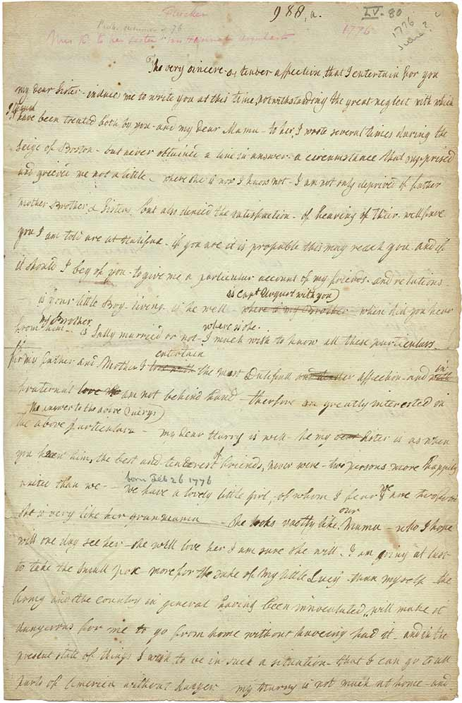 Lucy Knox to Hannah Urquhart, April 1777. (Gilder Lehrman Institute)