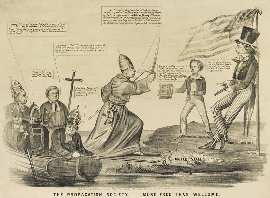 """The Propagation Society.—More Free Than Welcome,"" anti-Catholic and anti-Irish cartoon, likely by Louis Maurer, in which bishops anchor their boat to the shore of the US with a crozier hooked around a shamrock as the pope steps ashore, New York, 1855 (Library of Congress)"
