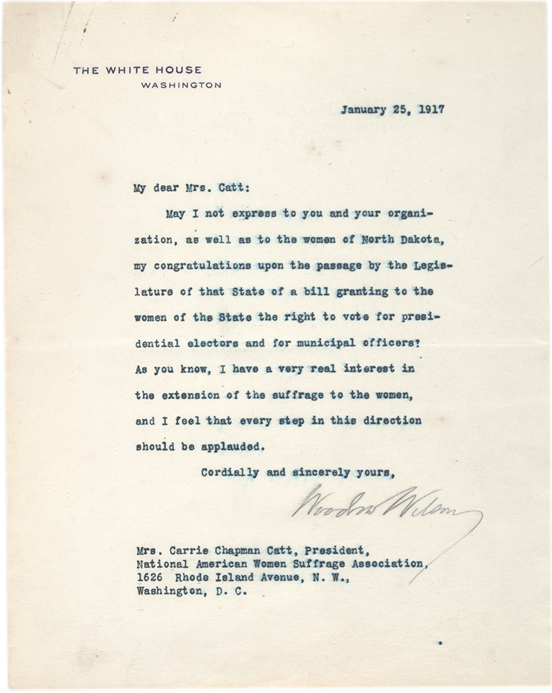 Woodrow Wilson to Carrie Chapman Catt expressing solidarity with the women's suffrage movement, January 25, 1917. (The Gilder Lehrman Institute, GLC07144)