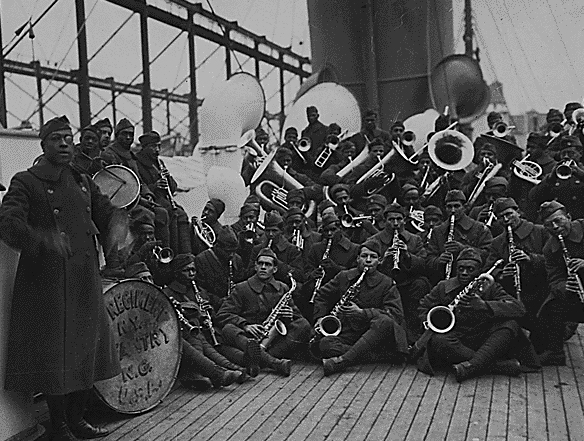James Reese Europe and musicians in the 369th Colored Infantry Regiment, February 12, 1919 (National Archives)