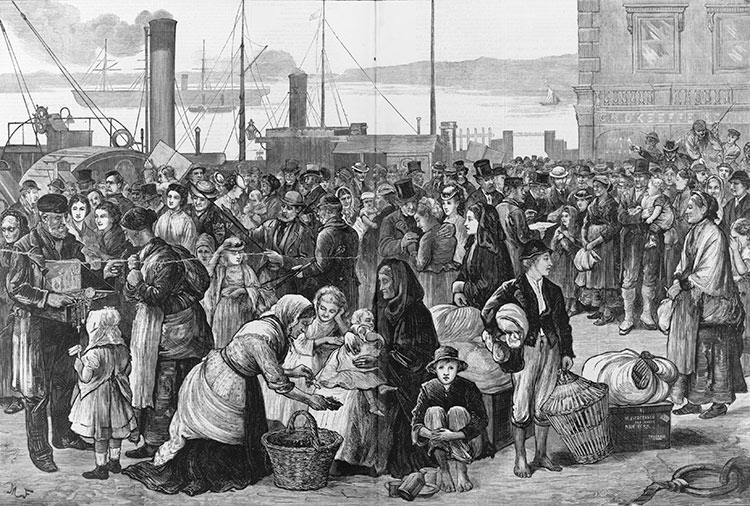 """Emigrants leaving Queenstown [Ireland] for New York,"" Harper's Weekly, September 26, 1874 (Library of Congress)"