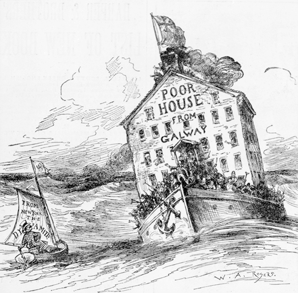 """Poor House from Galway,"" cartoon by W. A. Rogers depicting the arrival at Boston of ""650 paupers . . . in the steamship Nestoria, April 15th, from Galway, Ireland,"" Harper's Weekly, April 28, 1883 (The Library of Congress)"