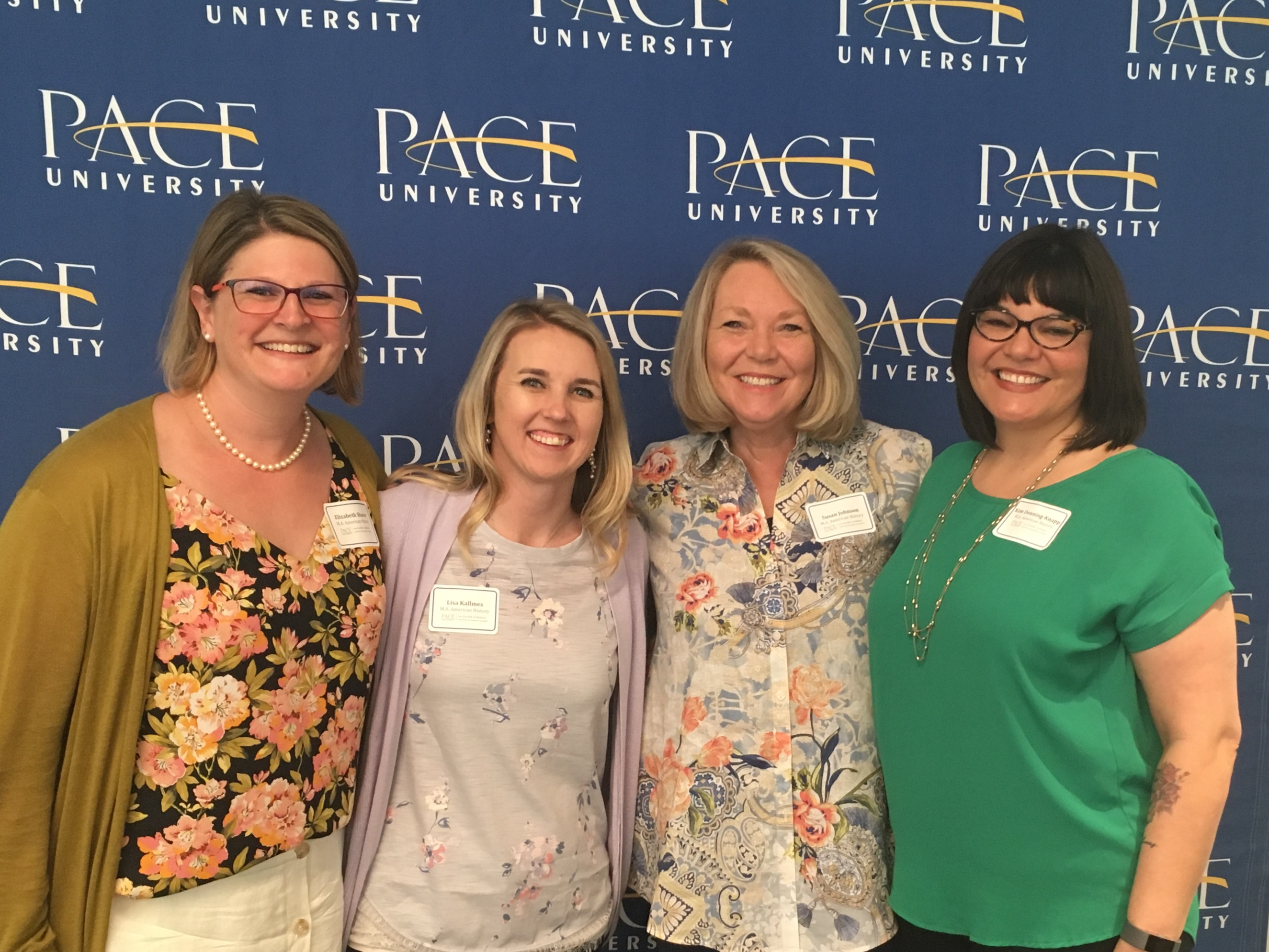 Graduates of the Pace–Gilder Lehrman MA in American History Program (from left) Elizabeth Shaver, Lisa Kallmes, Susan Weaver Johnson, Kim Denning-Knapp