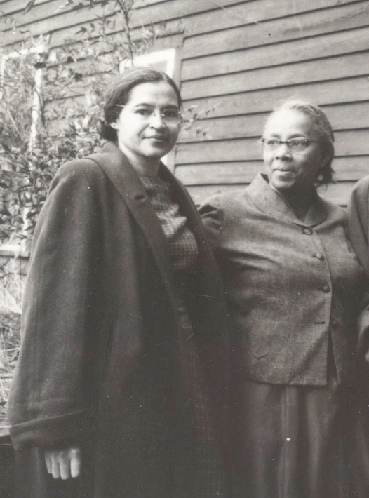 Rosa Parks (left) with Septima Clark at the Highlander Folk School in Tennessee, December 1956 (Library of Congress)