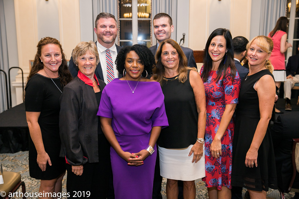2019 National History Teacher of the Year with previous winners (from left to right) Mary Huffman (2015), Kathleen Kean (2004), Kevin Cline (2016), Alysha Butler, Joe Welch (2018), Rosanne Lichatin (2005), Sara Ziemnik (2017), Michele Anderson (2014)