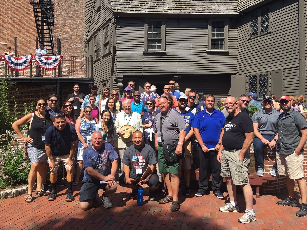 The American Revolution seminar with Professor Andrew Robinson in front of the Paul Revere House in Boston