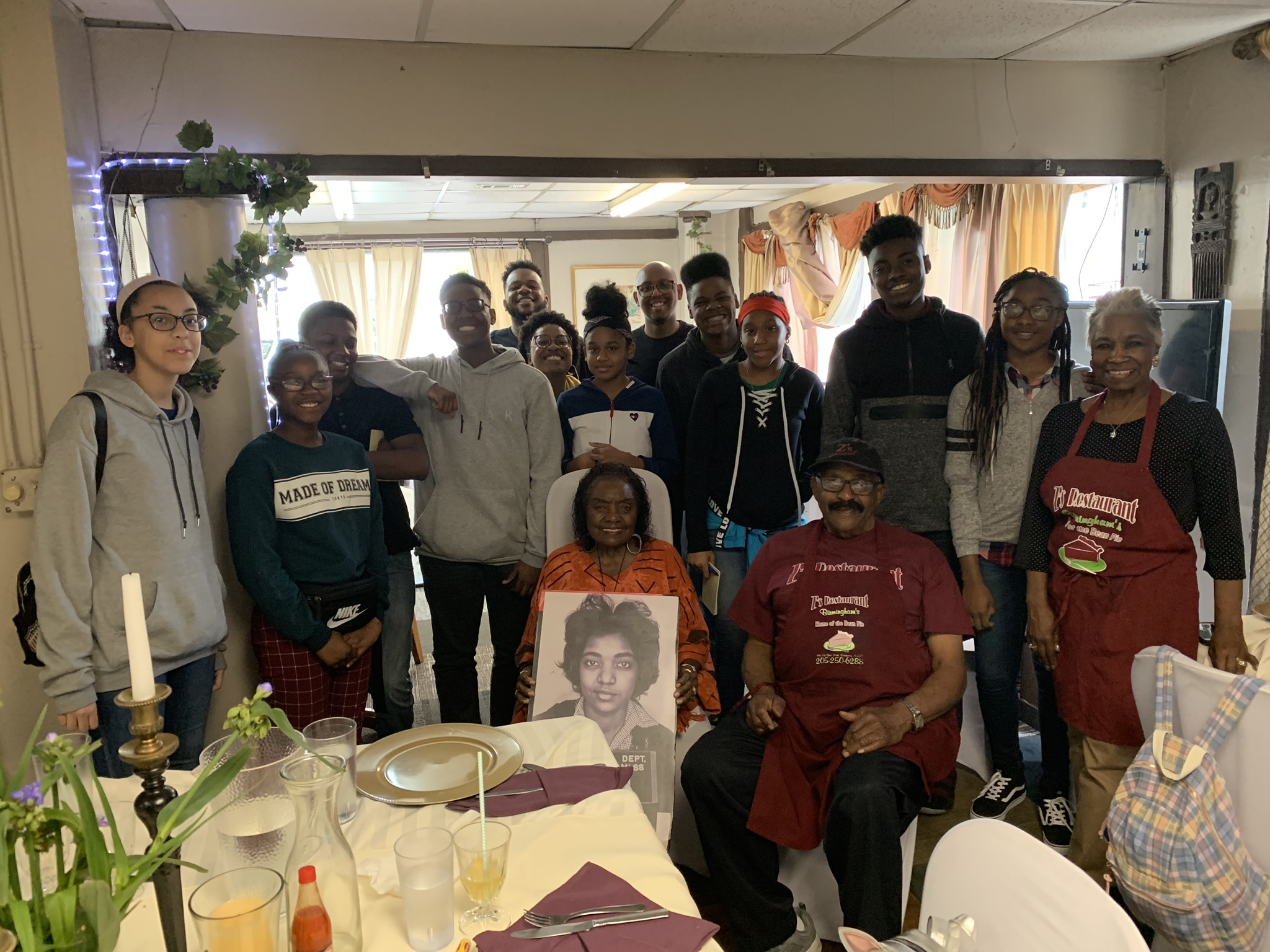 "BEC students meet with Catherine Burks-Brooks, a Freedom Rider from Tennessee who stood down ""Bull"" Connor before he drove the protesters out of Birmingham and dropped them off at the Tennessee border late at night. She told him, ""We'll see you at high noon."" They were back in Birmingham the next day."