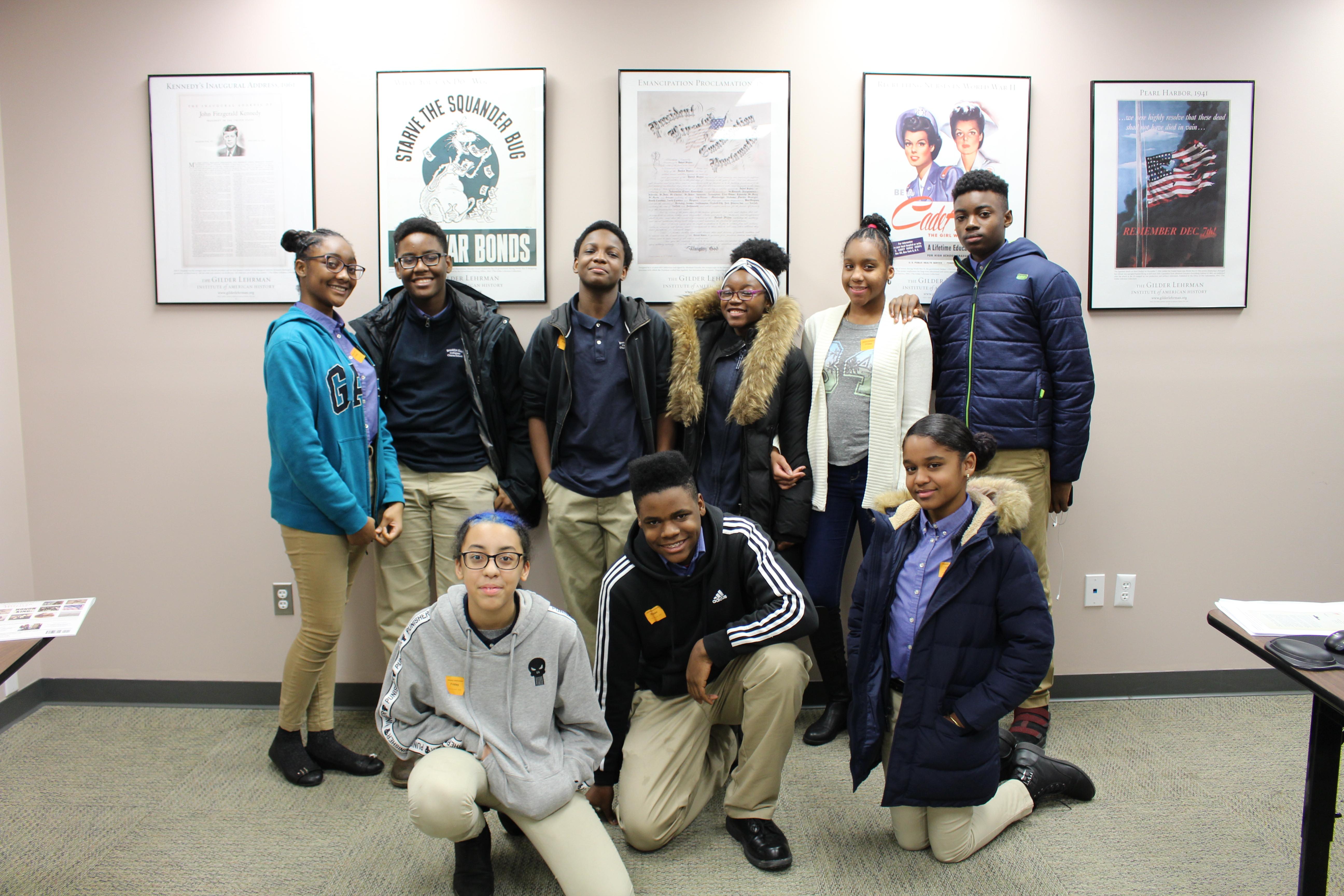 Students from Brooklyn East Collegiate visit the Gilder Lehrman Collection.