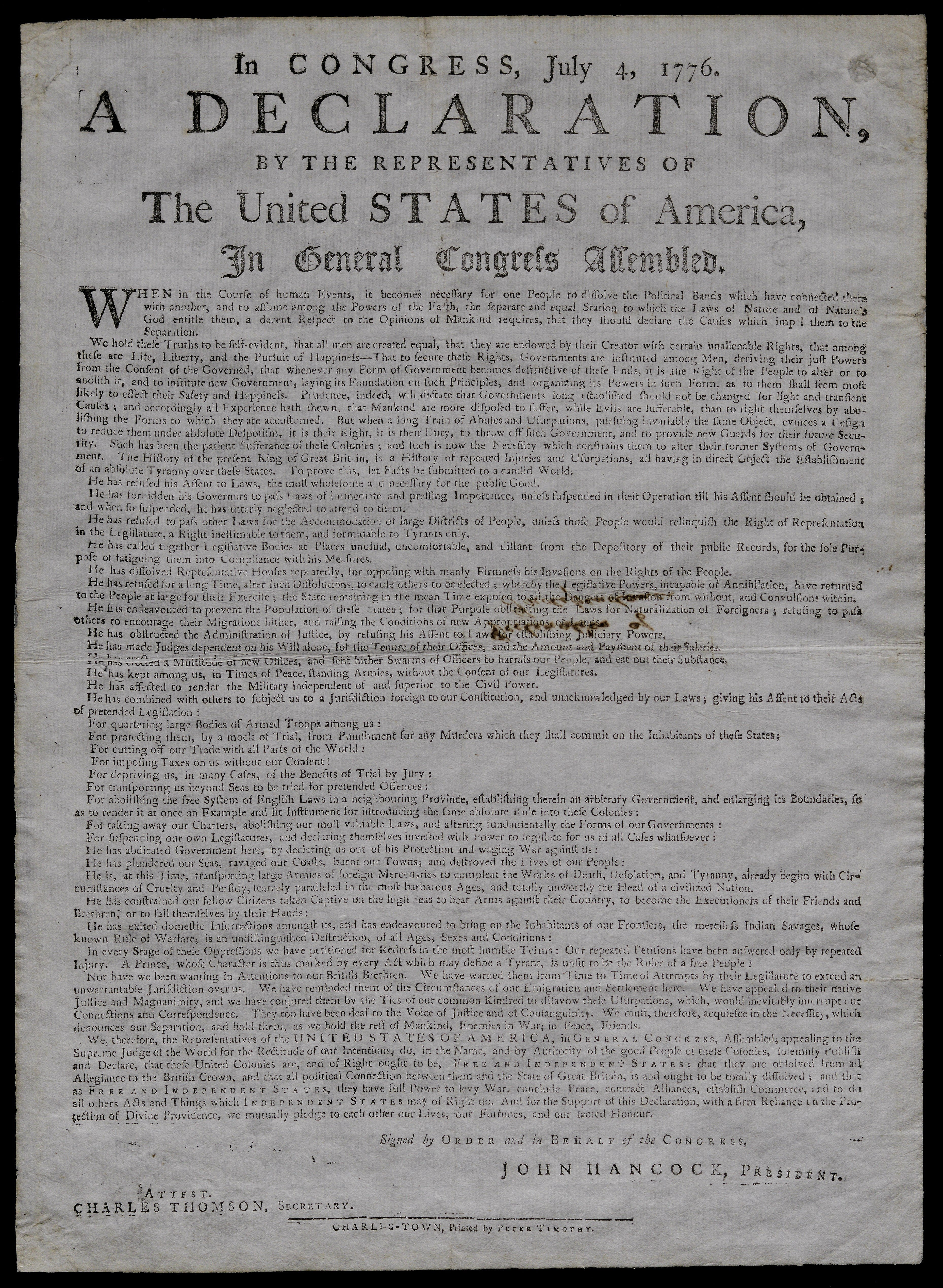 photograph relating to Printable Copy of the Declaration of Independence titled The Declaration of Freedom of Peter Timothy: Printer