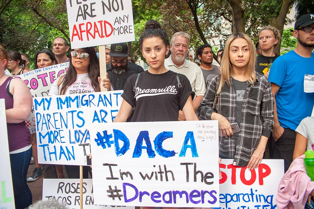 Activists rallying in support of undocumented immigrants protected by the Deferred Action for Childhood Arrivals (DACA) program, Portland, Oregon, September 5, 2017 (Diego G. Diaz / Shutterstock.com)