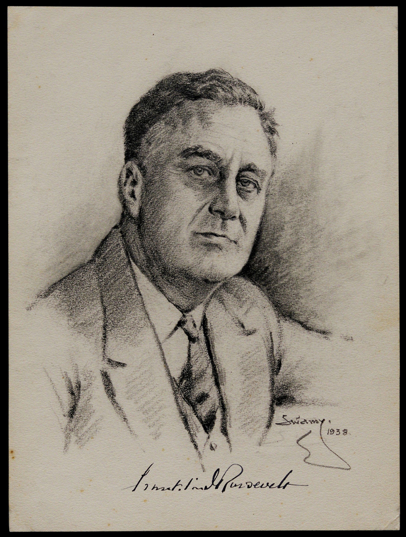 Franklin D. Roosevelt, by S. N. Swamy, 1938. (The Gilder Lehrman Institute, GLC00162.18)