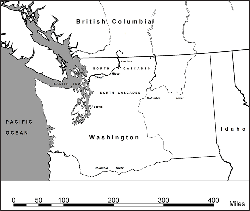 General area map of the Pacific Northwest, North Cascades Mountains, Salish Sea, and Skagit River (Courtesy of Robert R. Mierendorf)