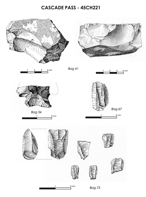 Illustration of stone artifacts from Cascade Pass, showing a core, a broken dart point, and small cutting tools made of quartz crystal (Courtesy of Monika Nill)