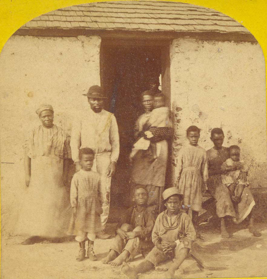 Detail from a stereoview image of freedmen and their families living in the tabby cabins on Kingsley Plantation in 1875. (Private collection)