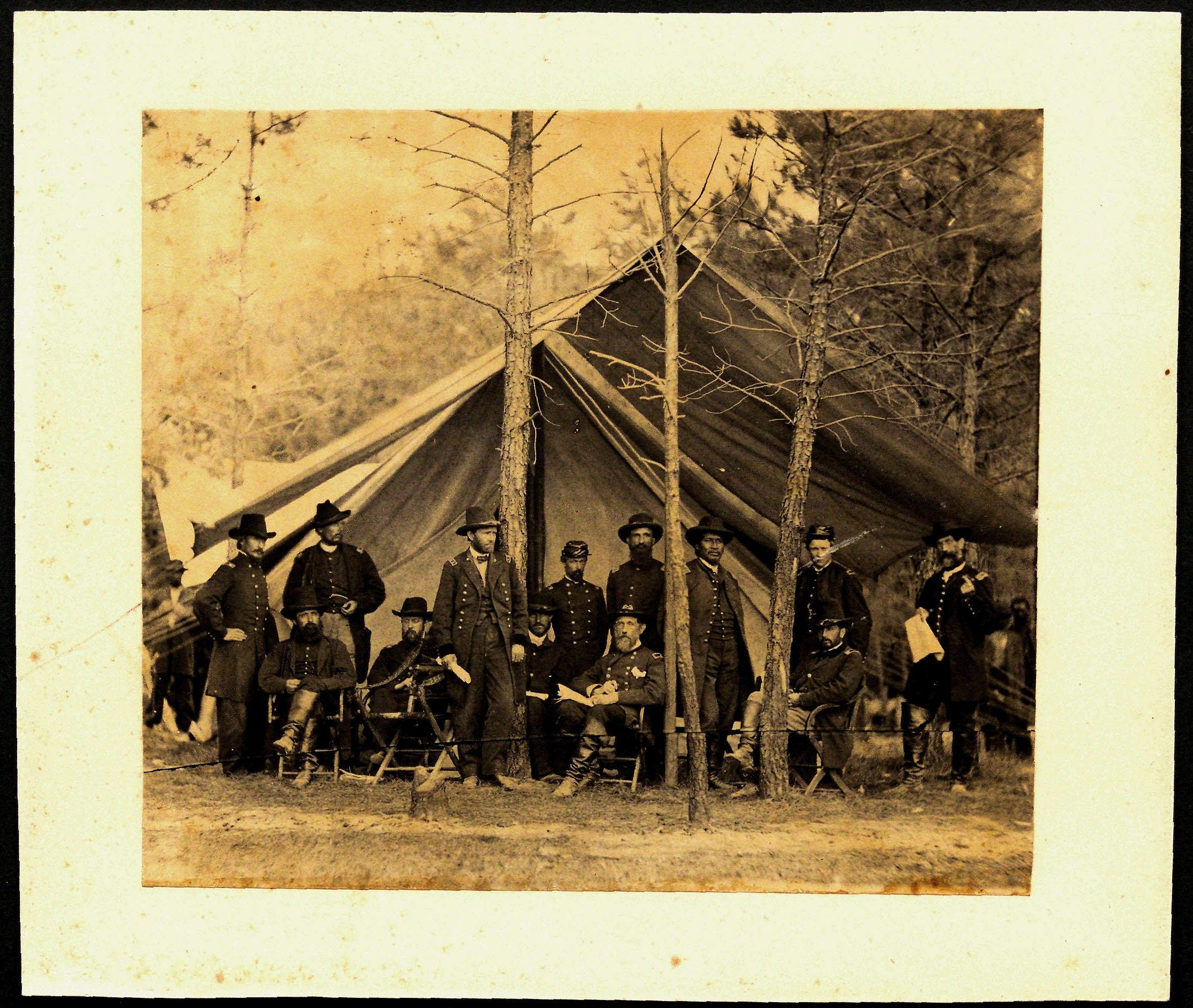 Ulysses S. Grant and staff after Battle of the Wilderness, ca. 1864 (Gilder Lehrman Institute GLC00588)