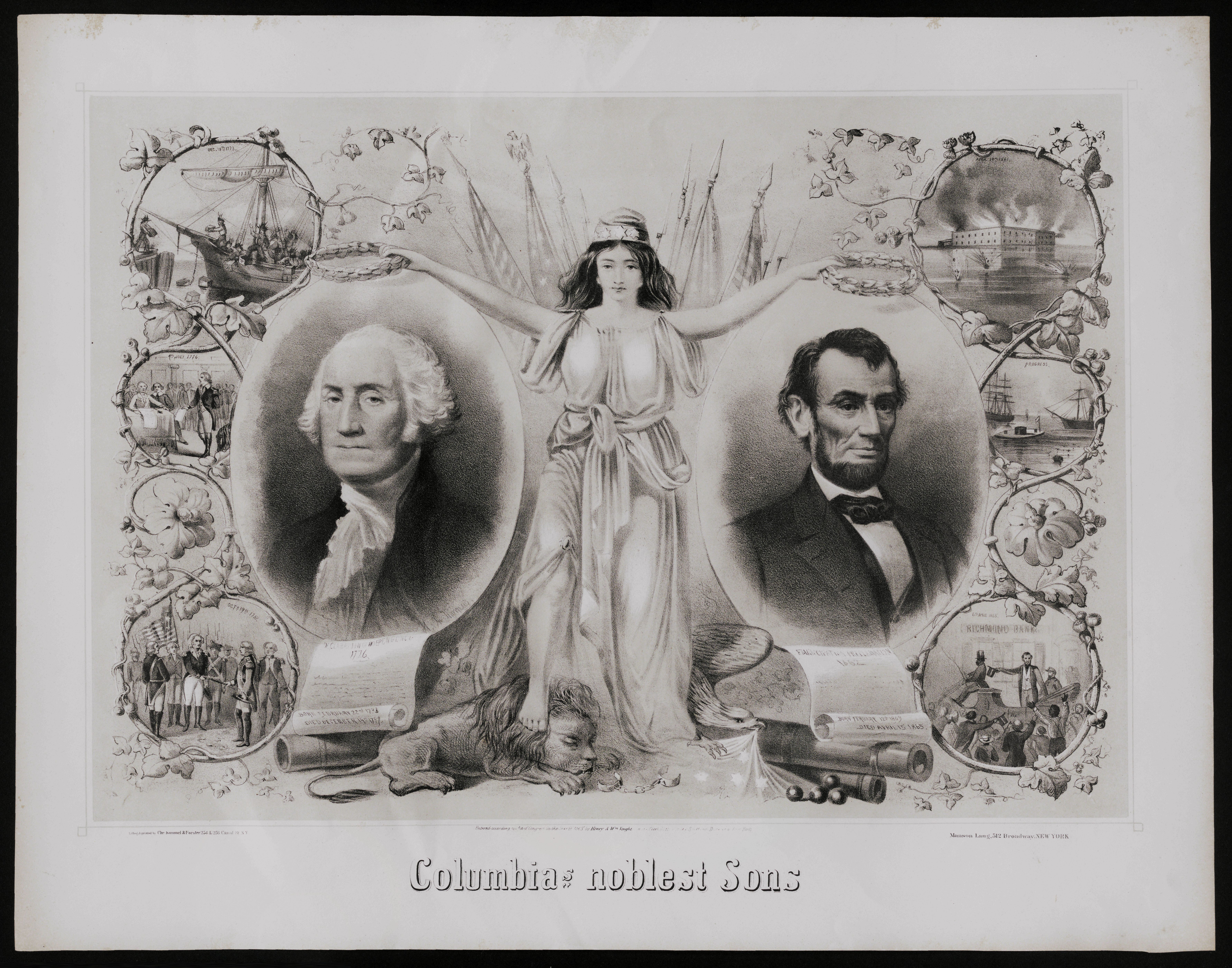 Columbia's Noblest Sons, printed by Kimmel and Forster, New York, 1865 (The Gilder Lehrman Institute of American History, GLC02597)