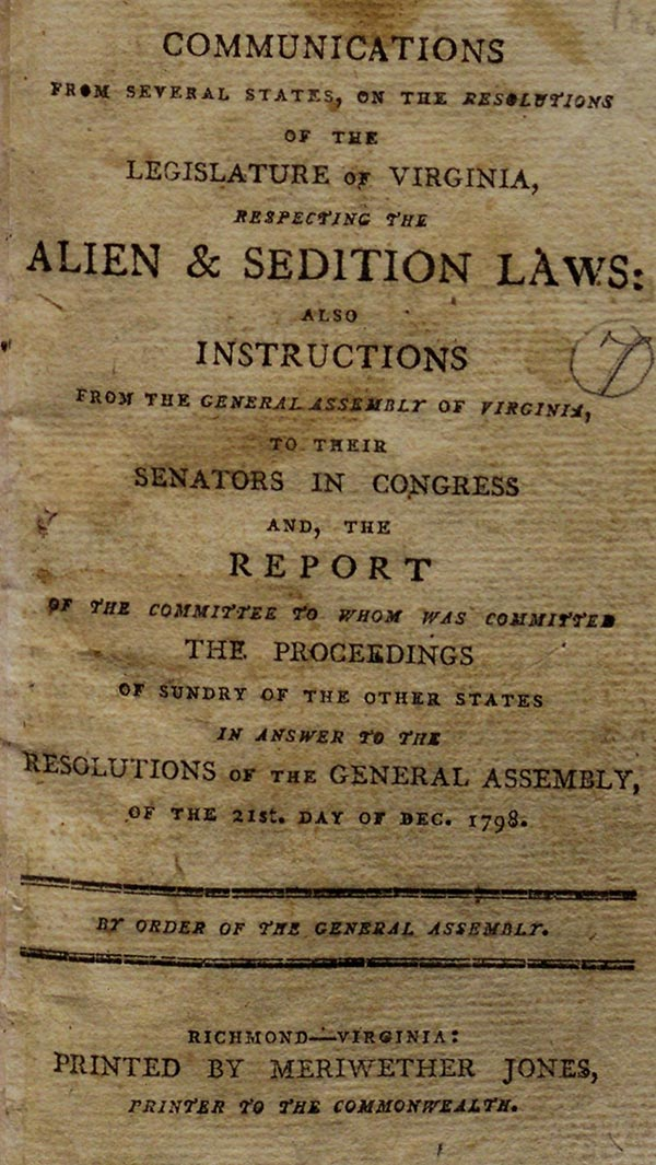 Title page, Communications from Several States . . . Respecting the Alien & Sedition Laws, Richmond 1800 (Gilder Lehrman Institute, GLC05480)