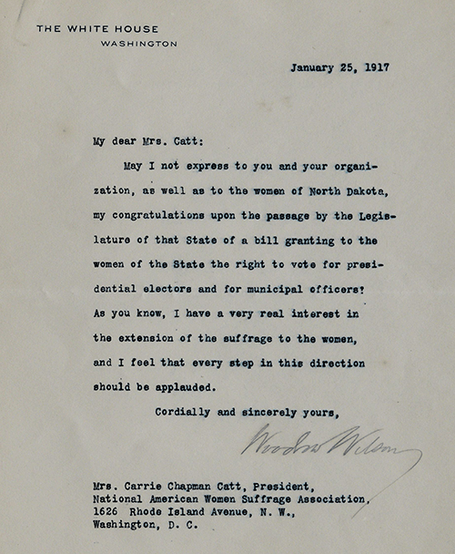 Woodrow Wilson to Carrie Chapman Catt expressing solidarity with the women's suffrage movement, Washington, DC, January 25, 1917 (The Gilder Lehrman Institute, GLC07144)