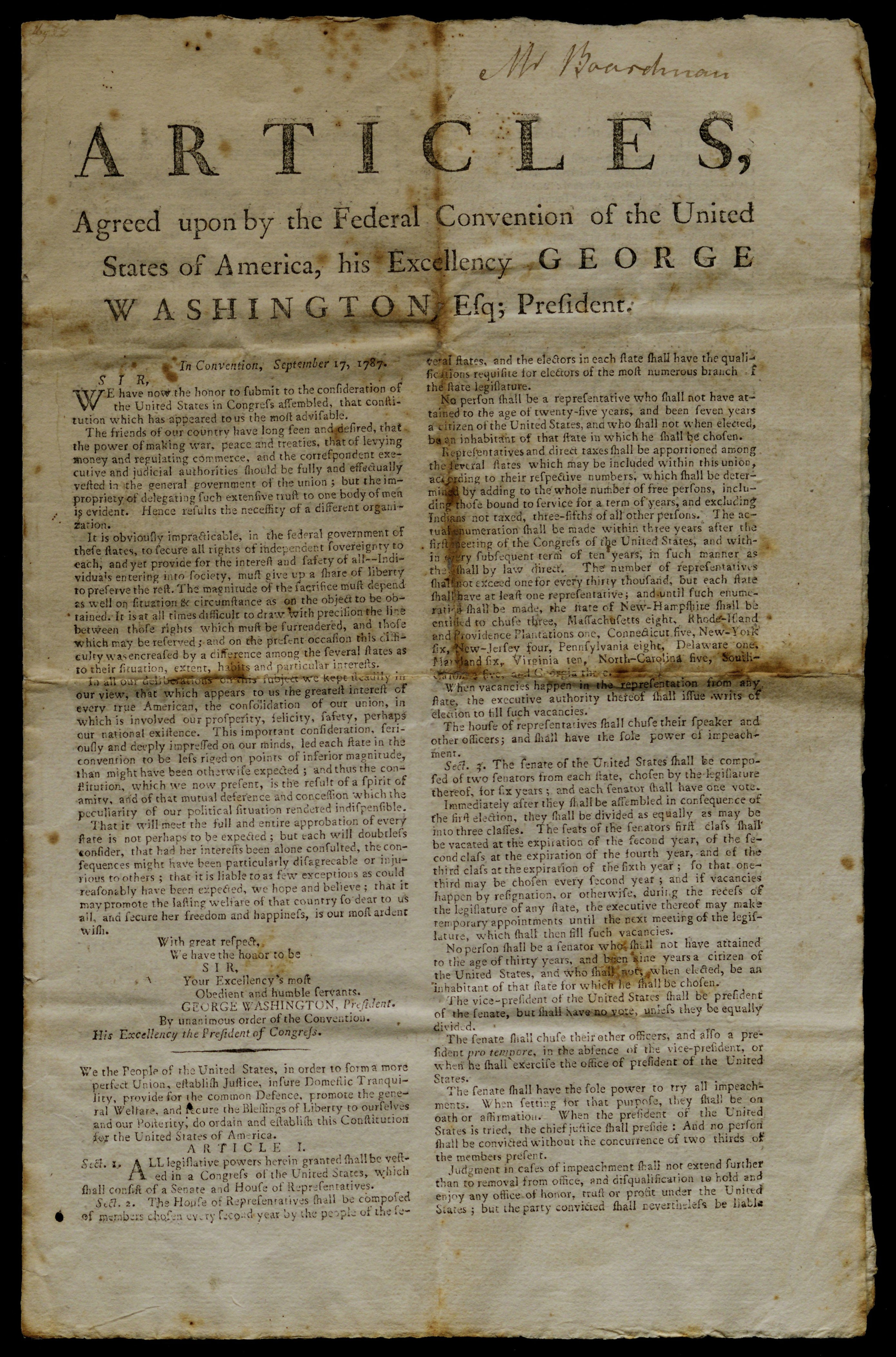 Broadside of the US Constitution, printed in 1788 (Gilder Lehrman Institute, GLC07866)