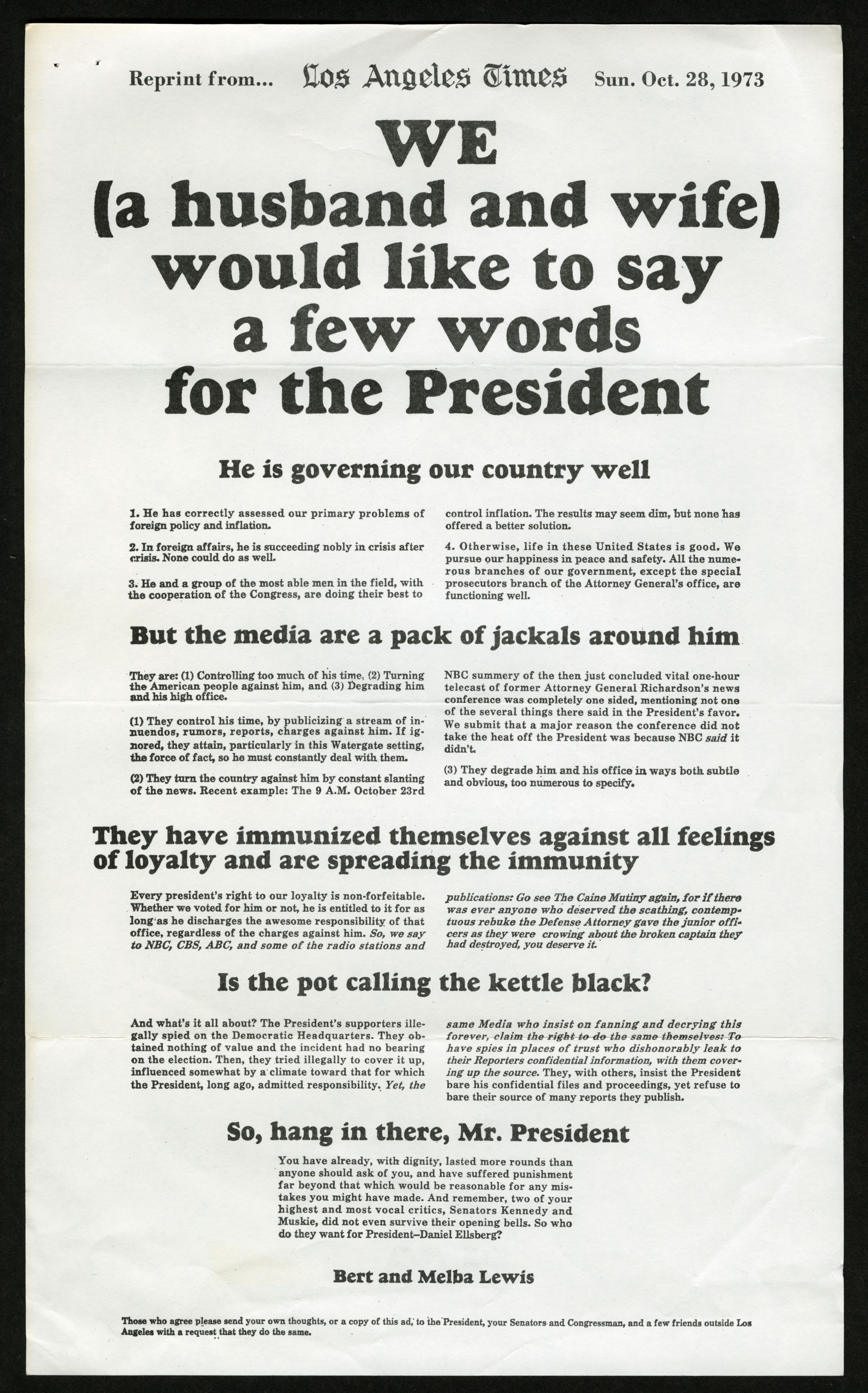 Ad from Bert and Melba Lewis against Nixon impeachment published in the Los Angeles Times (Gilder Lehrman Institute, GLC09613.02.2302)