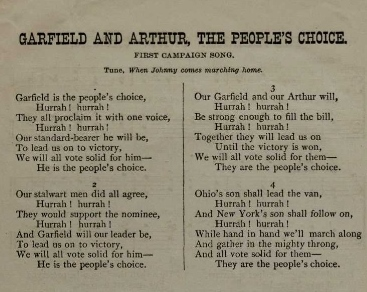 Garfield and Arthur Campaign Songbook 1880 (Washington DC: Republican Congressional Committee, 1880). (Gilder Lehrman Institute, GLC05941)