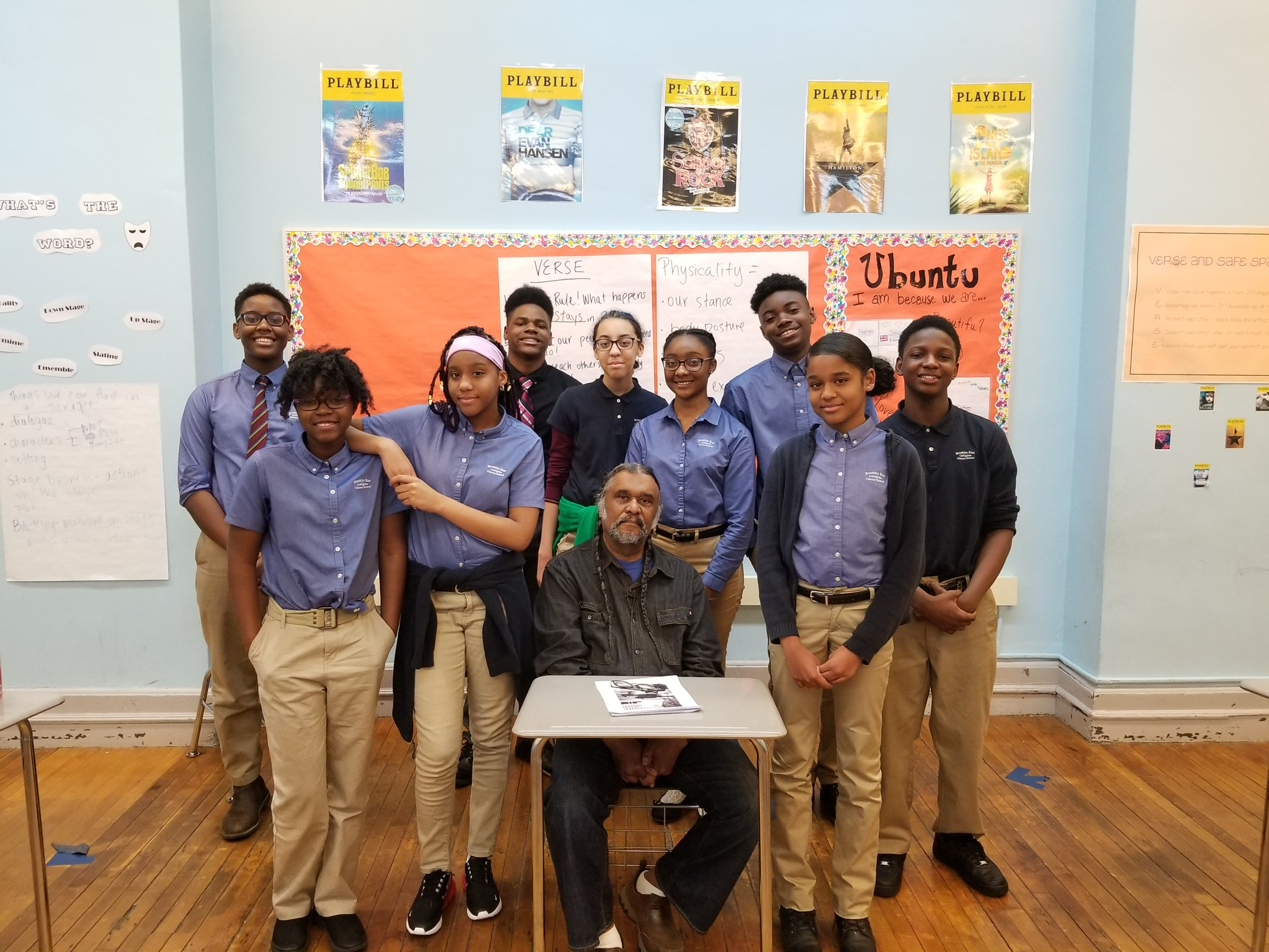Claude Oliver, son of Rev. C. Herbert Oliver, visits students at Brooklyn East Collegiate to discuss growing up with a civil rights leader.