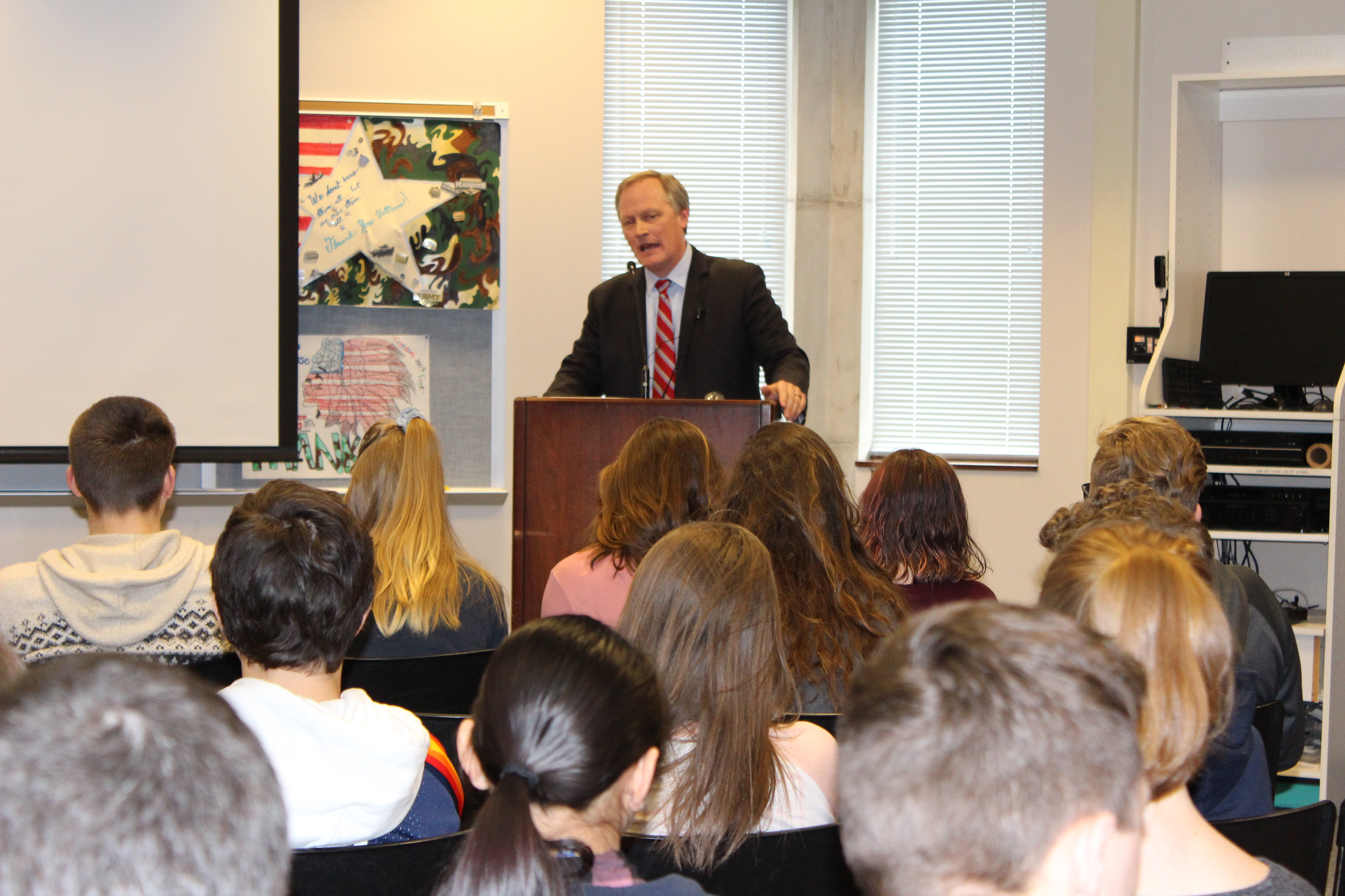 George Washington University Professor Denver Brunsman talks to middle and high school students in Pittsburgh.
