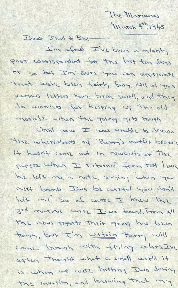 Letter from Robert L. Stone to Jacob and Beatrice Stone, Guam, March 4, 1945