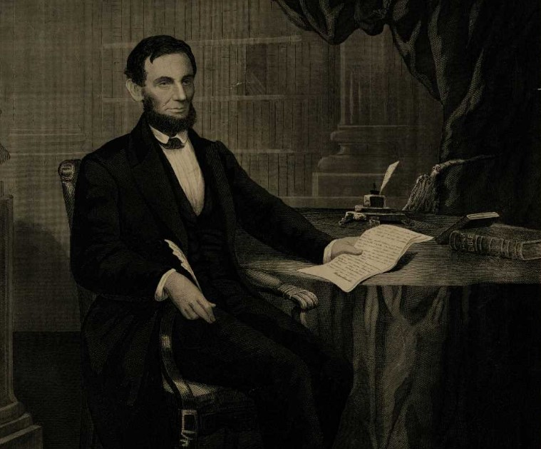 """Abraham Lincoln signing the Emancipation Proclamation"" engraved by John Serz after a painting by W. E. Winner, ca. 1864 (Gilder Lehrman Institute,  GLC03531)"