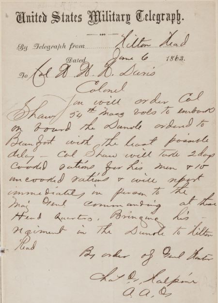 Charles Halpine relates orders for Colonel Robert Gould Shaw, June 6, 1863 (The Gilder Lehrman Institute, GLC01595.01)