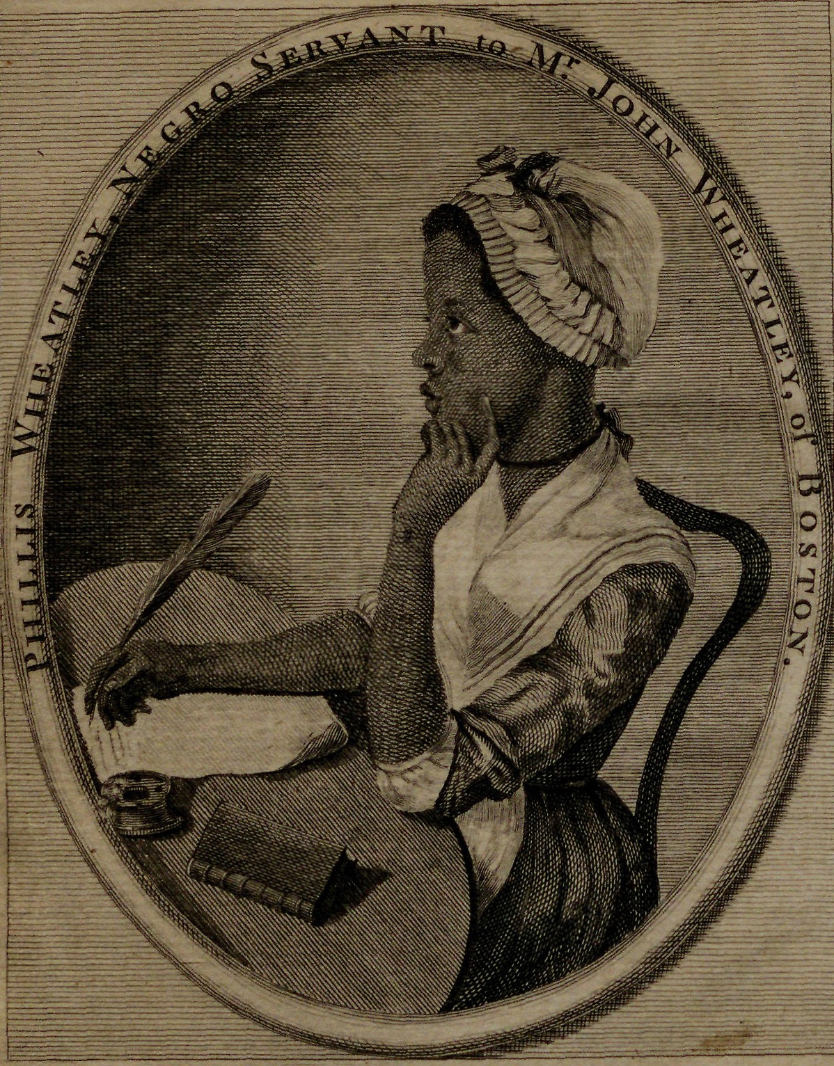 "Phillis Wheatley, engraving from ""Poems on Various Subjects, Religious and Moral,"" 1773. (Gilder Lehrman Institute, GLC06154)"