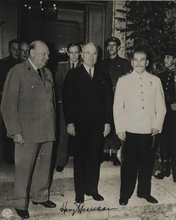 Harry Truman, Winston Churchill, and Joseph Stalin at Potsdam, July - August 1945 (Gilder Lehrman Institute, GLC04457)