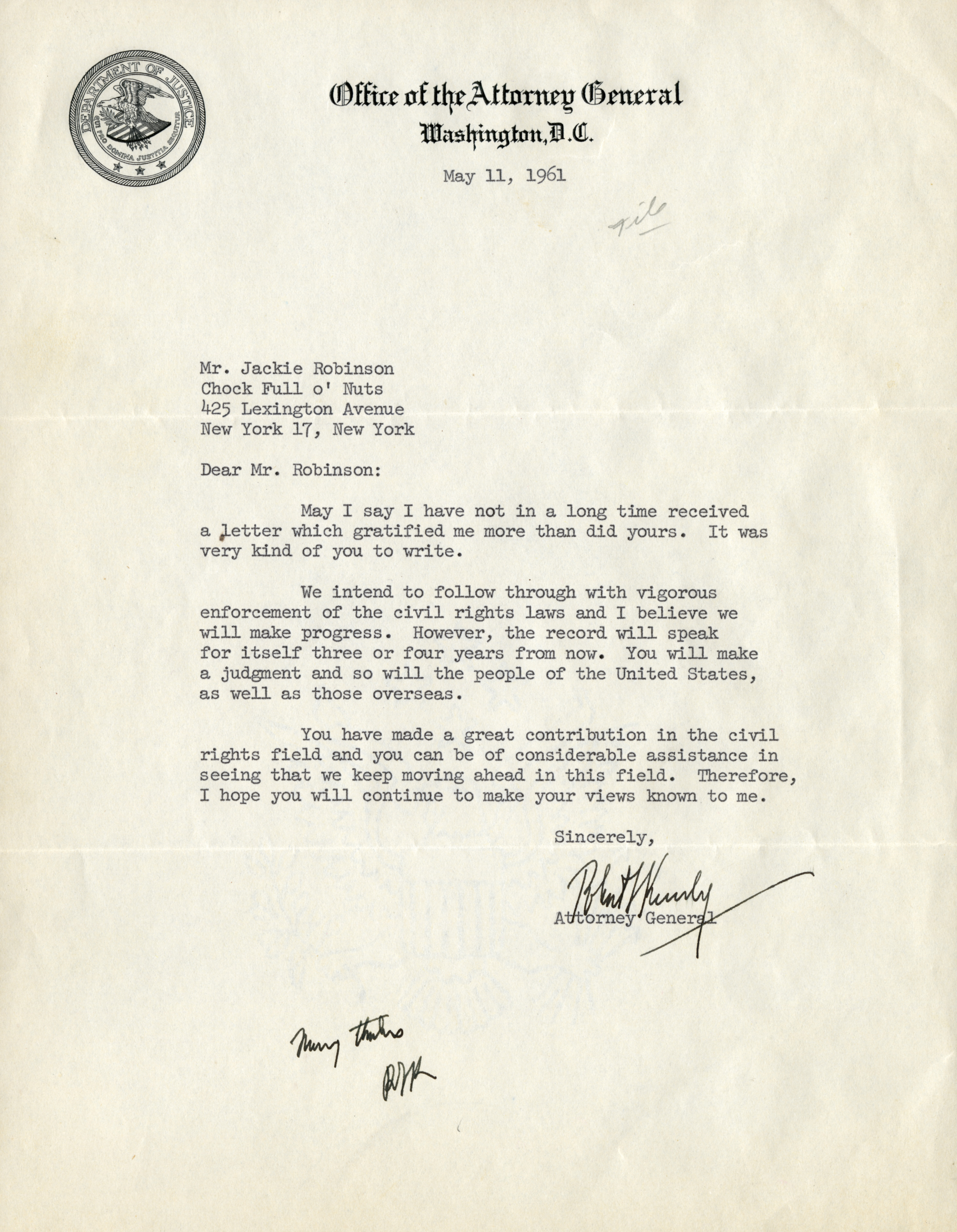 Letter to Jackie Robinson from Robert Kennedy, May 11, 1961. (The Gilder Lehrman Institute, GLC09754.06)