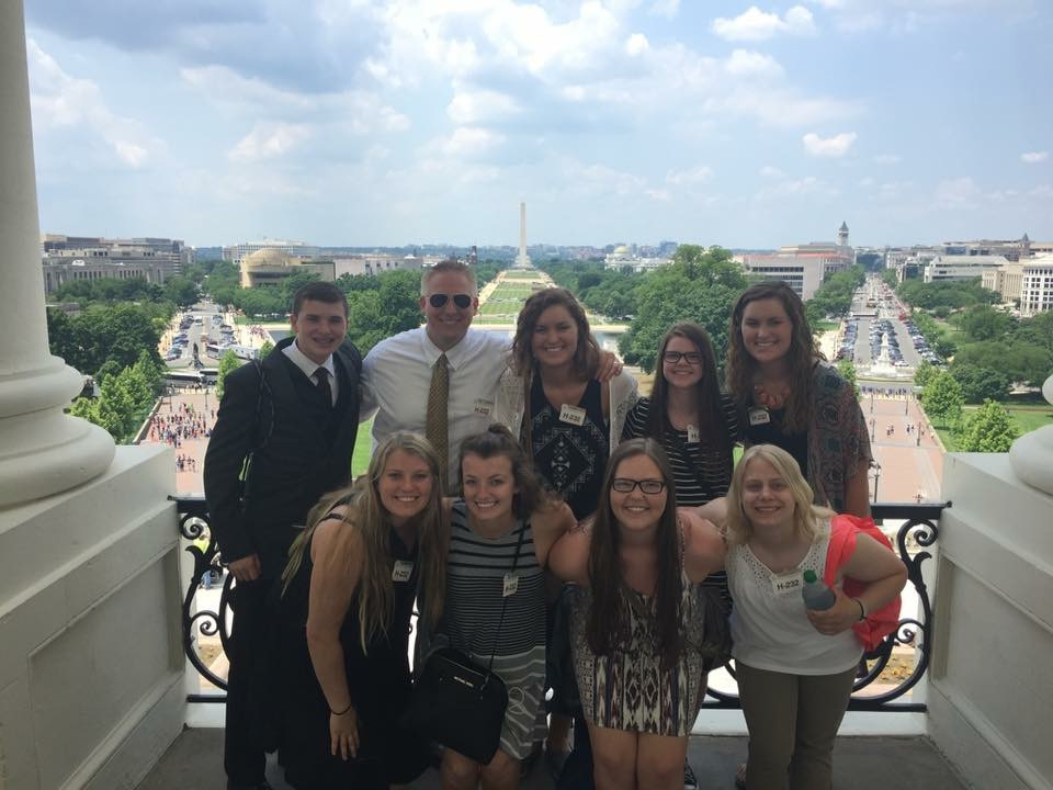 Jeremy Risty, Brandon Valley High School, Brandon, South Dakota (pictured with students in Washington, DC)