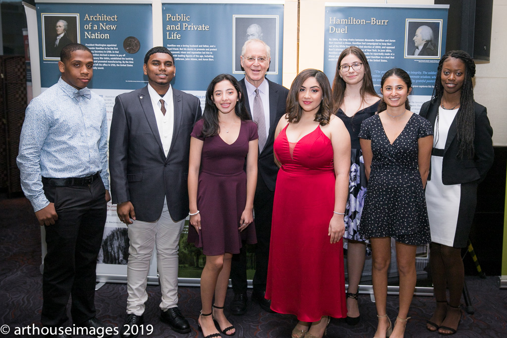Ron Chernow with student speakers and performers at the 2019 Gilder Lehrman Institute of American History Gala