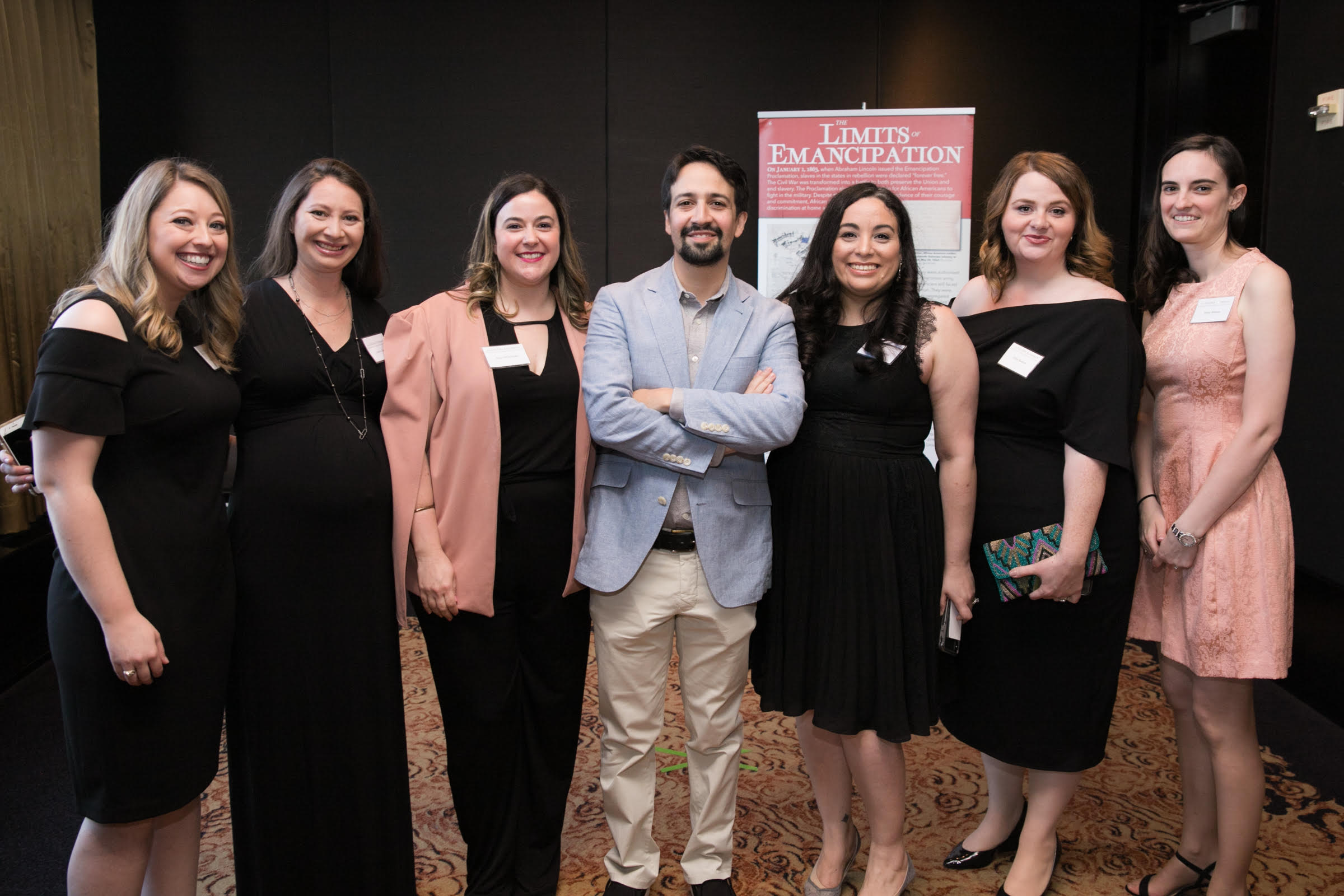 Hamilton composer and original star Lin-Manuel Miranda with Hamilton Education Program team members Allison Taylor, Andrea Zakai, Amy DiChristina, Sasha Rolon Pereira, Leslie Keeton, and Jamie Marcus