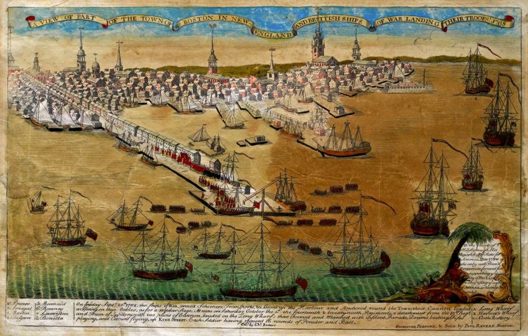 """A View of Part of the Town of Boston in New-England and British Ships of War Landing Their Troops in 1768,"" engraved by Paul Revere, 1770. (Gilder Lehrman Institute, GLC02873)"