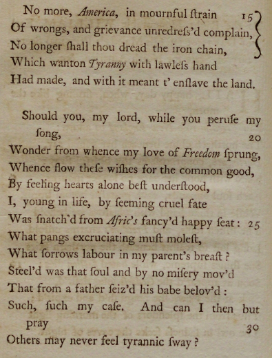"Phillis Wheatley, ""To the Right Honourable William, Earl of Dartmouth"" (wr. 1772), in ""Poems on Various Subjects, Religious and Moral,"" 1773 (Gilder Lehrman Institute, GLC06154)"