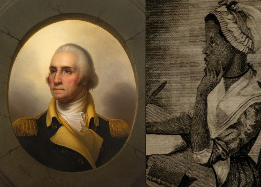"Left: Painting of George Washington by Rembrandt Peale, ca. 1852 (Gilder Lehrman Institute, GLC09119.01). Right: Engraved portrait of Phillis Wheatley from ""Poems on Various Subjects, Religious and Moral,"" 1773 (Gilder Lehrman Institute, GLC06154)"