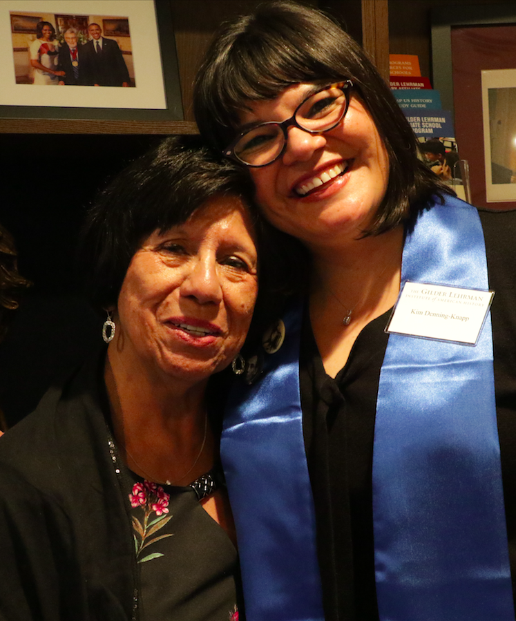 2019 Graduate of the Pace–Gilder Lehrman MA in American History Program Kim Denning-Knapp with a proud relative after her graduation ceremony