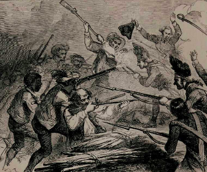 """The Battle of Bunker Hill: Peter Salem Shooting the British Major Pitcairn"" from ""The Black Phalanx; A History of the Negro Soldiers of the United States in the Wars of 1775-1812, 1861-1865"" by Joseph T. Wilson, 1888 (Gilder Lehrman Institute, GLC06192)"