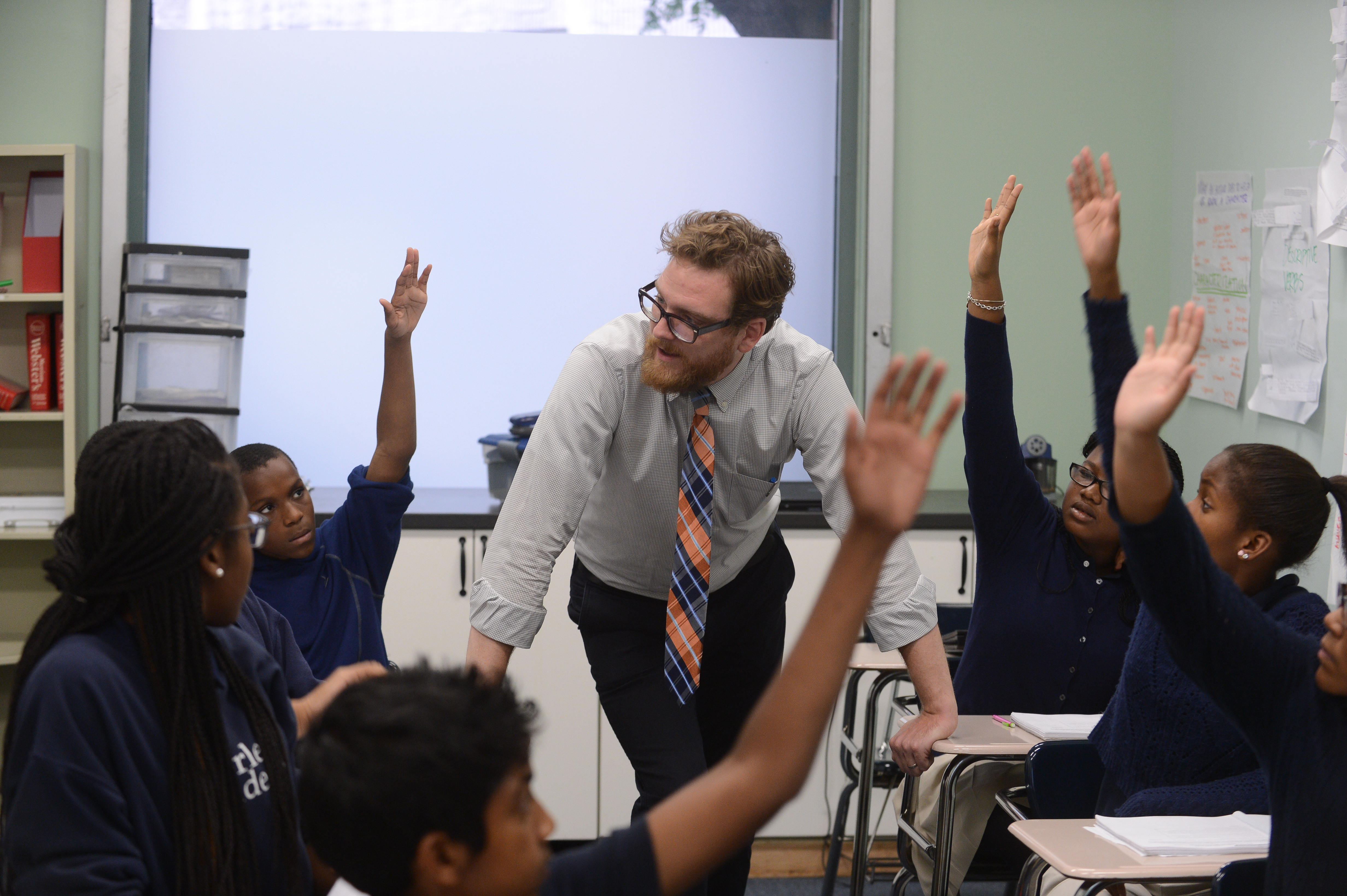 Sean Enos-Robertson in the classroom at Harlem Academy.