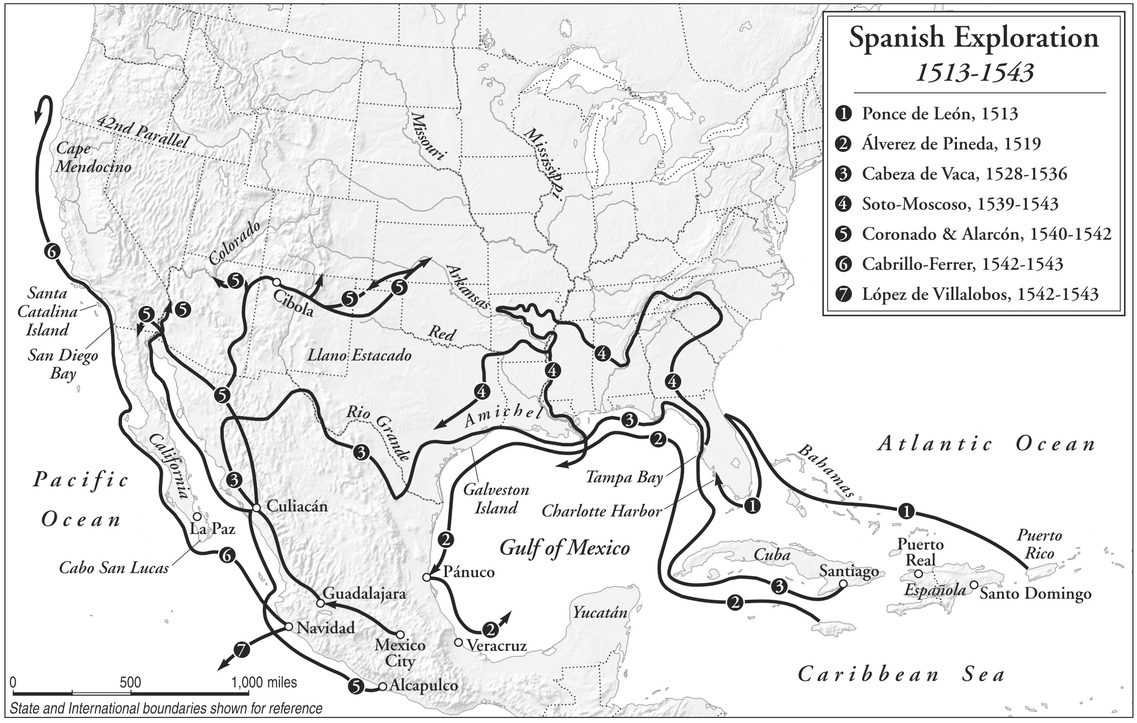 """Spanish Exploration, 1513–1543,"" printed in Neil Foley, Mexicans in the Making of America (Harvard University Press, 2014), p. 14. Courtesy of Neil Foley."