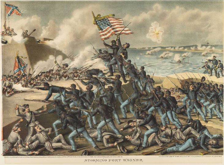 Kurz & Allison 1890 print of the storming of Fort Wagner by the 54th Massachusetts Regiment in 1863 (Gilder Lehrman Institute, GLC00317.02)