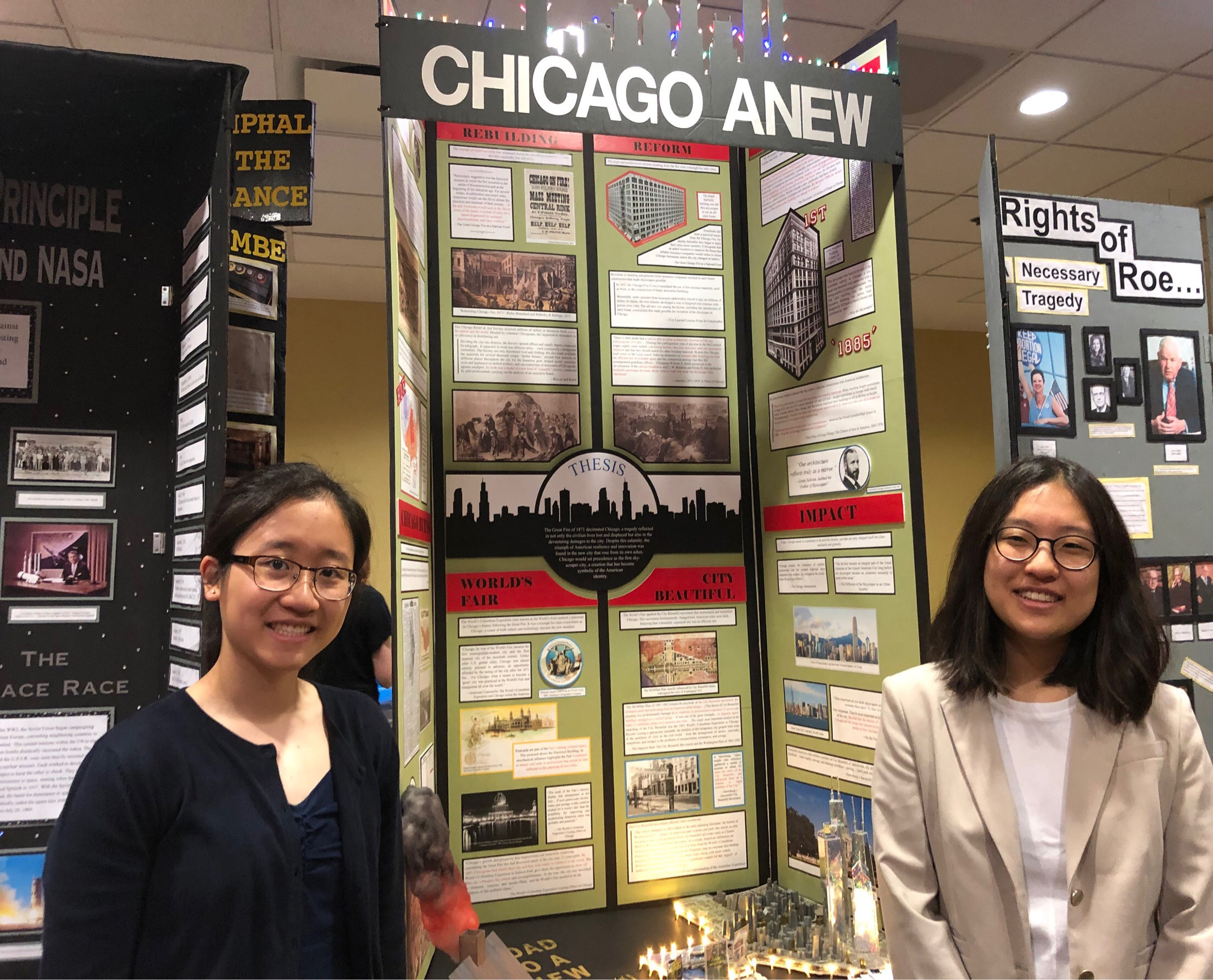 "Christy Guan and Hana Kim from Stuyvesant High School, New York, NY with their 1st place project: ""Tragedy of the Great Fire and Triumph of Skyscraper City."""