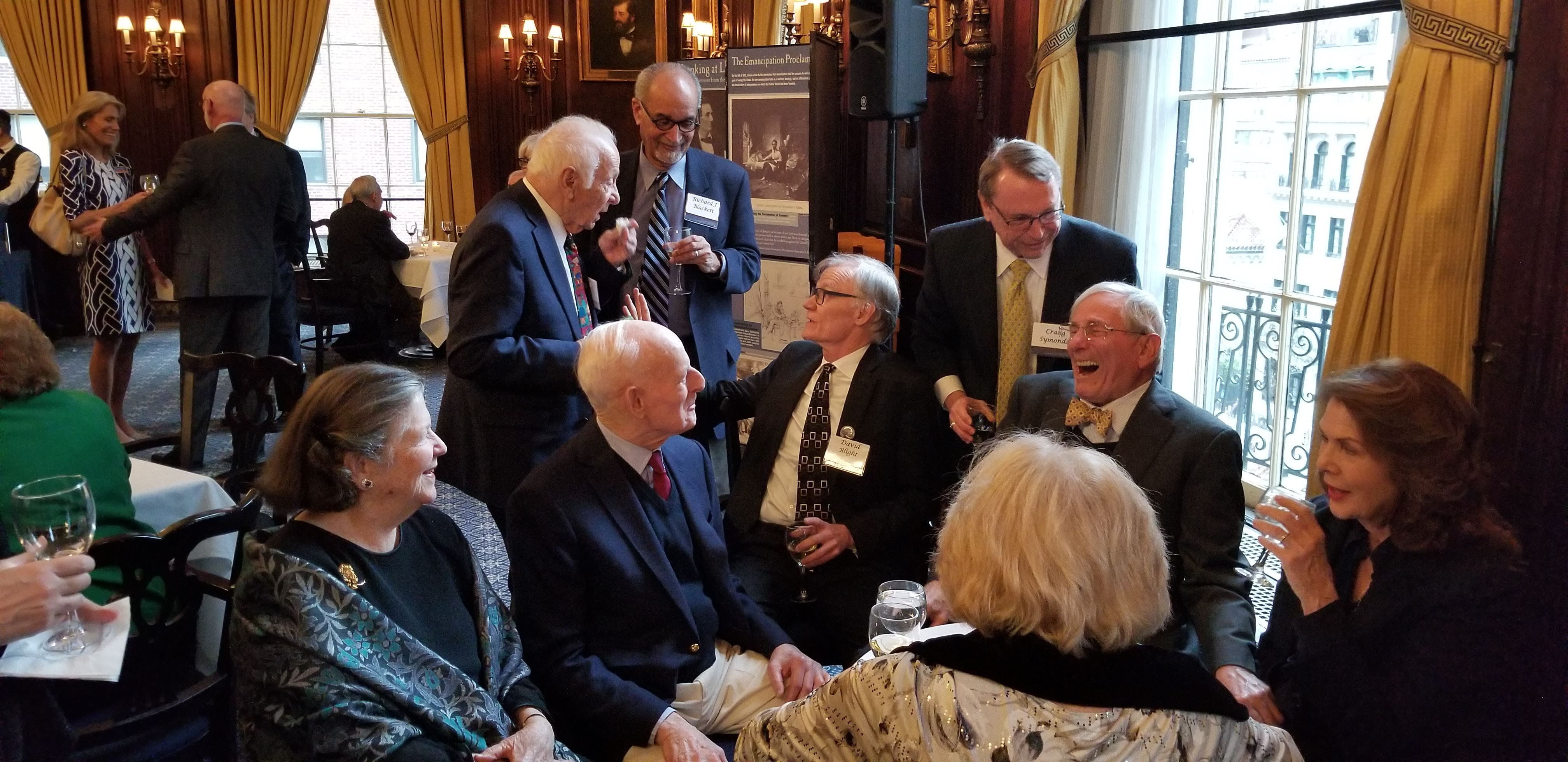 Louise Lehrman, Lewis E. Lehrman, Richard J. M. Blackett, David Blight, Richard Gilder, and Lois Chiles before the 2019 Lincoln Prize ceremony.
