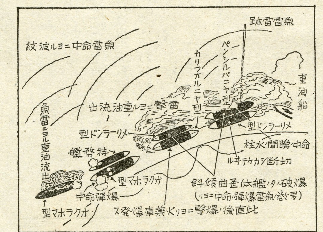 Detail of Battleship Row from Japanese announcement of the Attack on Pearl Harbor (The Gilder Lehrman Institute of American History, GLC09552.01)