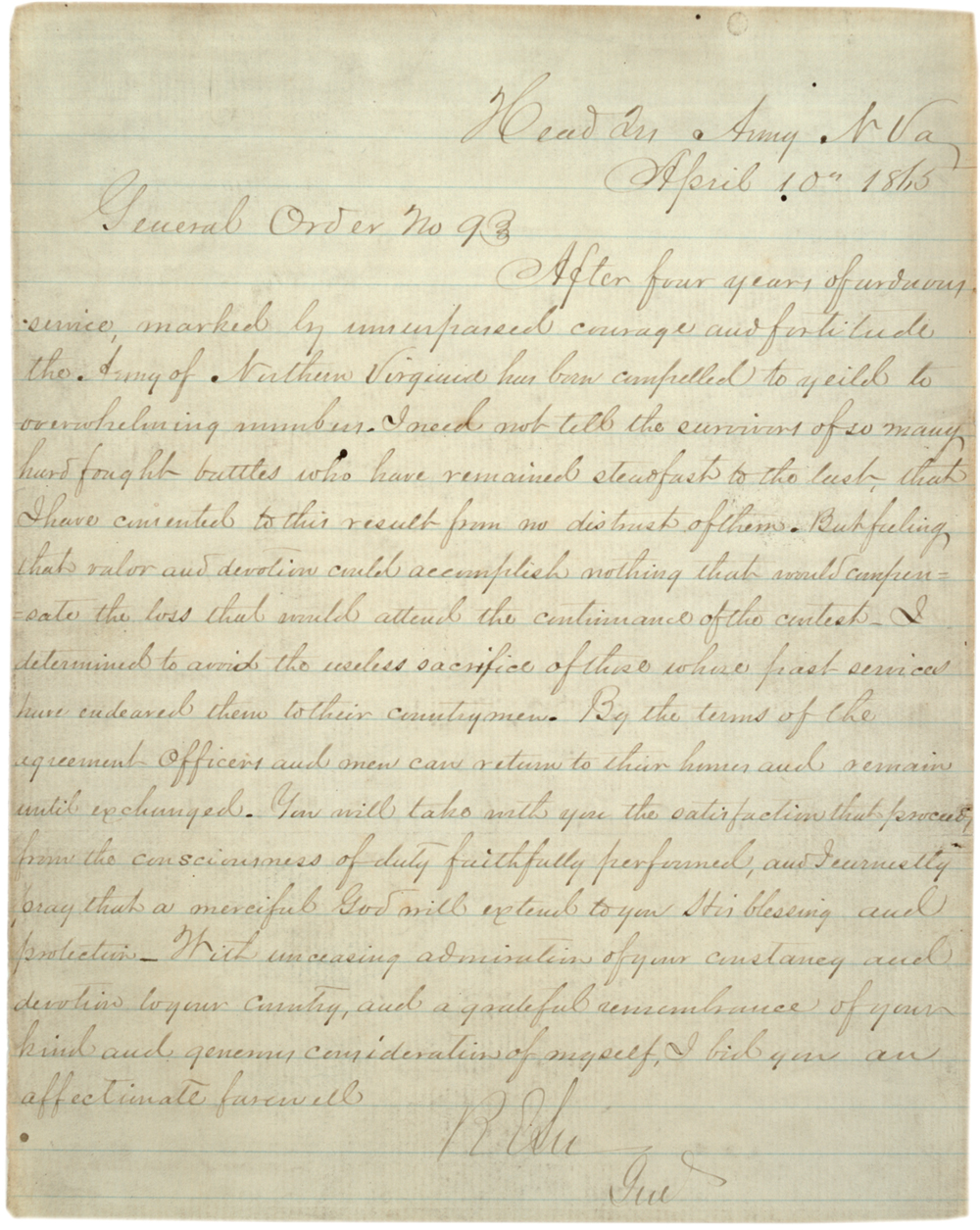 Robert E. Lee's General Order No. 9, April 10, 1865. (GLC00035)