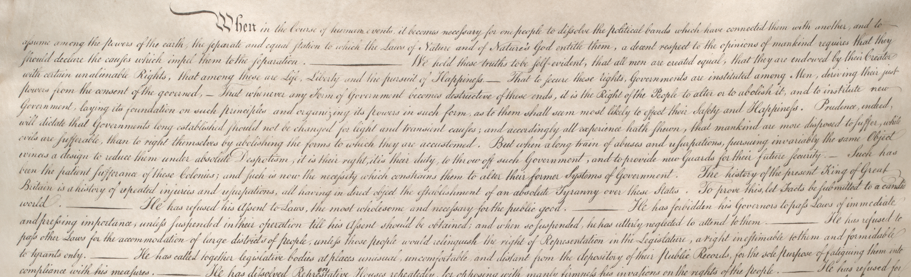 Detail from the Declaration of Independence, July 4, 1776, printed 1823.  (Gilde
